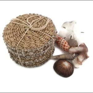 NEW Natural Jute coasters encrusted with seashells